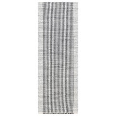 Contemporary Gray and White Flat-Weave Wool Runner
