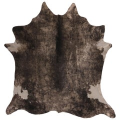 Contemporary Gray and White Large Leather Cowhide Rug