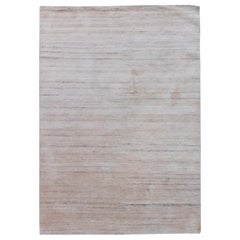 Contemporary Gray Hand Knotted Wool and Silk Rug