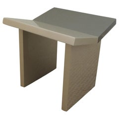 Contemporary Gray Lacquered Wooden Stool