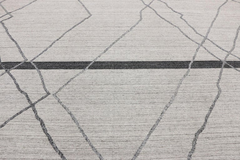 Contemporary Gray Modern Moroccan Style Area Rug With