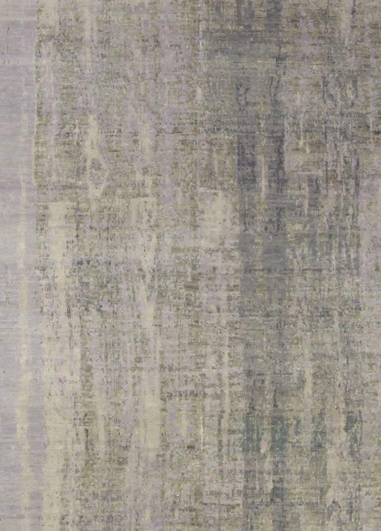 Contemporary gray perspective hand knotted wool rug Size: 11'10