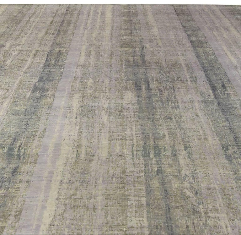 Modern Contemporary Gray Perspective Hand Knotted Wool Rug For Sale