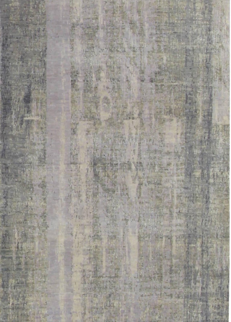 Indian Contemporary Gray Perspective Hand Knotted Wool Rug For Sale