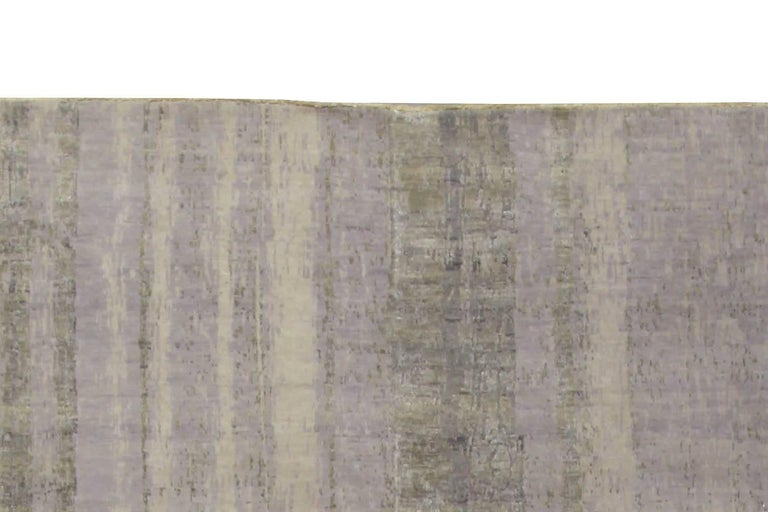 Contemporary Gray Perspective Hand Knotted Wool Rug In New Condition For Sale In New York, NY