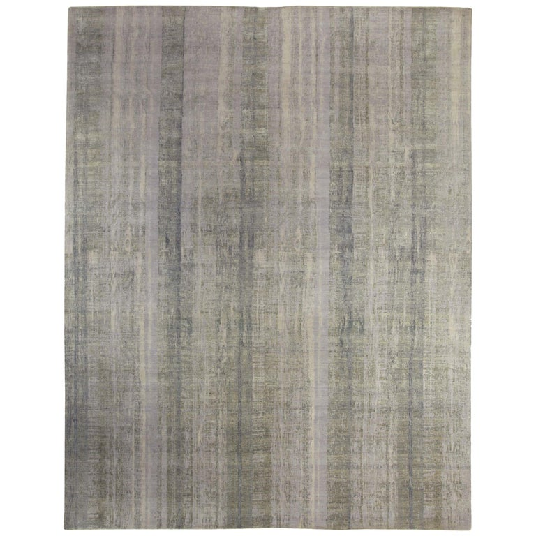 Contemporary Gray Perspective Hand Knotted Wool Rug For Sale