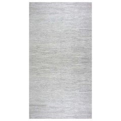 Contemporary Gray and White Flat-Weave Wool Rug