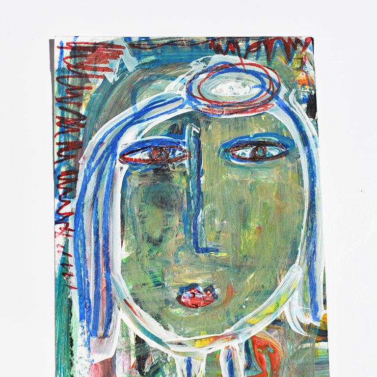 Folk Art Contemporary Green Abstract Outsider Figural Painting of a Woman For Sale