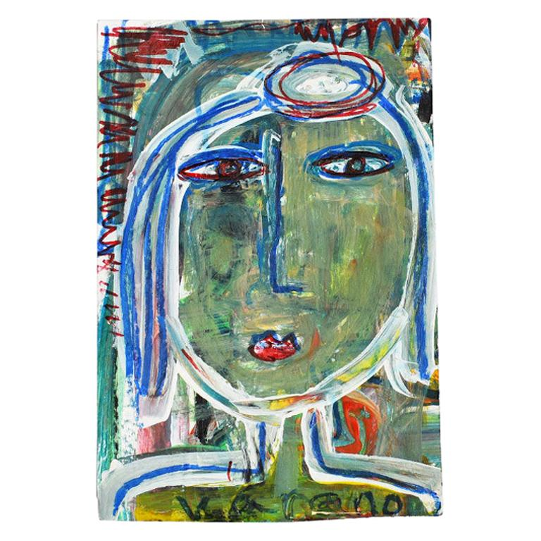 Contemporary Green Abstract Outsider Figural Painting of a Woman