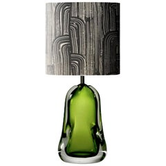 Contemporary Green Blown Glass Table Lamp with Paper Black White Lampshade