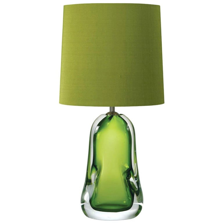 Contemporary Green Blown Glass Table Lamp with Silk Lampshade For Sale