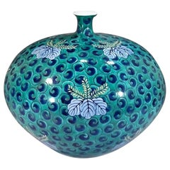 Japanese Contemporary Green and Blue Porcelain Vase by Master Artist