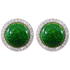 Contemporary Green Enamel and Diamond Cluster Cufflinks in 18 Carat White Gold