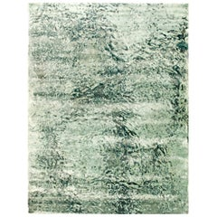 Contemporary Green Water Design Banana Hand Knotted Silk and Wool Rug III