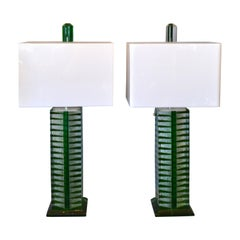 Contemporary Green, White and Clear Lucite, Nickel Table Lamps with Shades, Pair