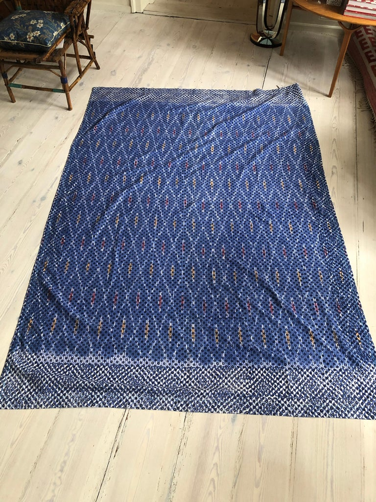 Contemporary Gregory Parkinson Tablecloth with Blue Ikat Hand-Blocked Patterns For Sale 2