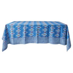 Contemporary Gregory Parkinson Tablecloth with Blue Ikat Hand-Blocked Patterns