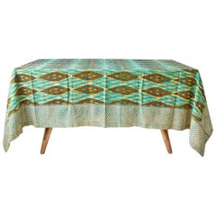 Contemporary Gregory Parkinson Tablecloth with Green Ikat Hand-Blocked Patterns