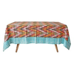 Contemporary Gregory Parkinson Tablecloth with Multi Ikat Hand-Blocked Patterns