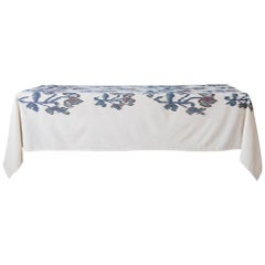 Contemporary Gregory Parkinson Tablecloth with White Ikat Hand-Blocked Patterns