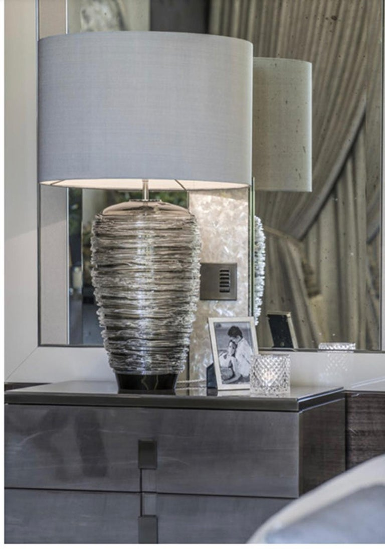 Modern Contemporary Grey Glass Table Lamp with Silk Lampshade For Sale
