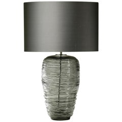 Contemporary Grey Glass Table Lamp with Silk Lampshade