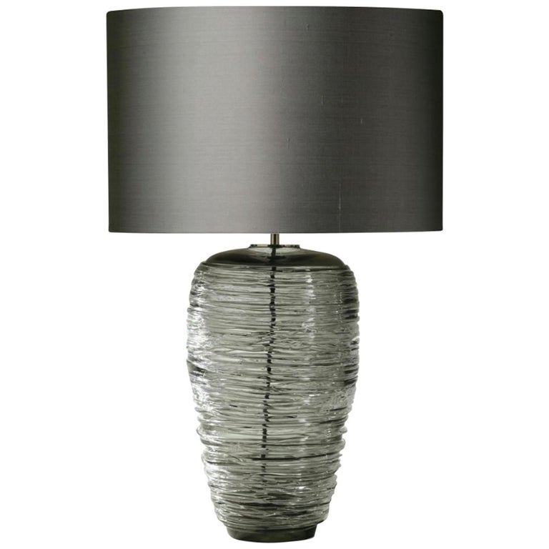 Contemporary Grey Glass Table Lamp with Silk Lampshade For Sale