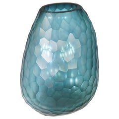 Contemporary Guaxs Azure Tall Otavalo Oval Glass Vase