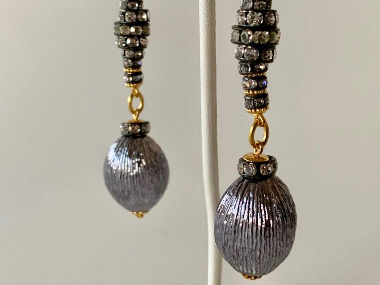 Contemporary Gunmetal Diamanté Drop Statement Earrings  For Sale 6