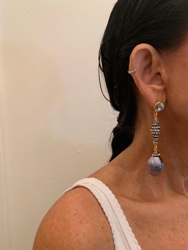 Contemporary Gunmetal Diamanté Drop Statement Earrings  In New Condition For Sale In Palm Springs, CA