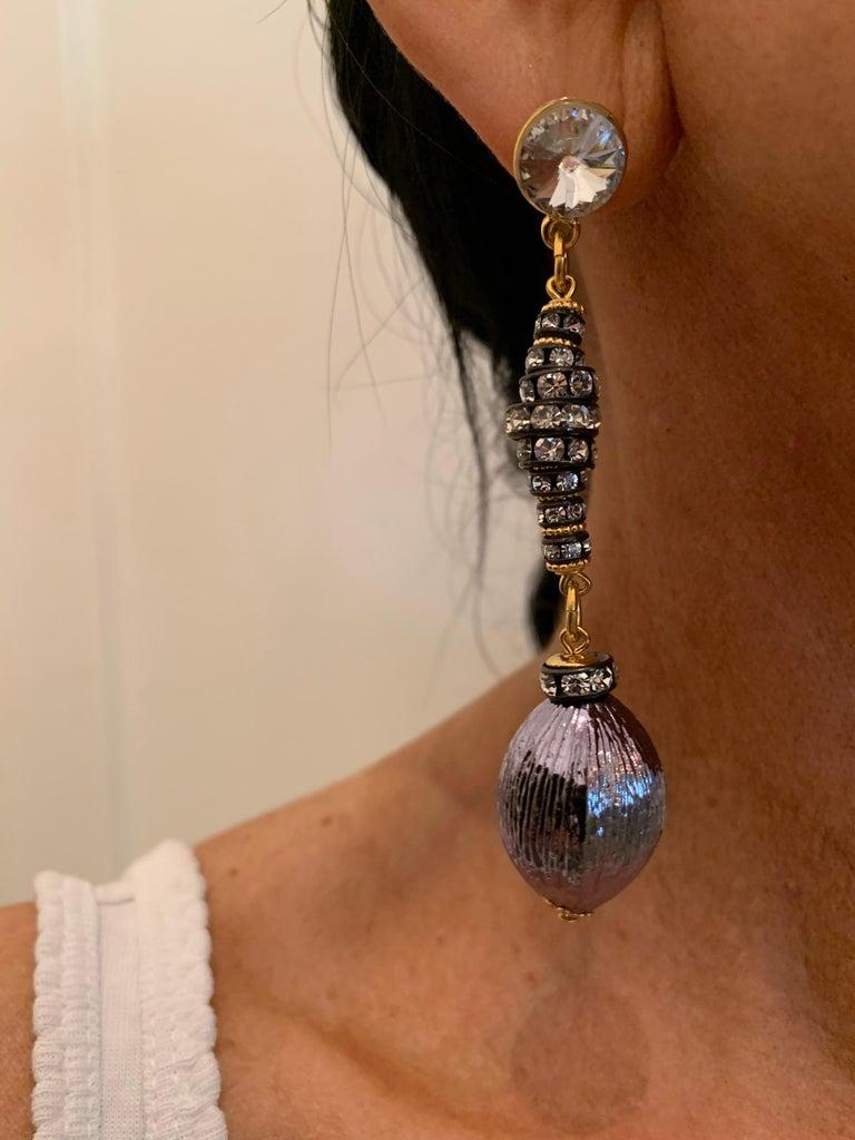 Women's Contemporary Gunmetal Diamanté Drop Statement Earrings  For Sale