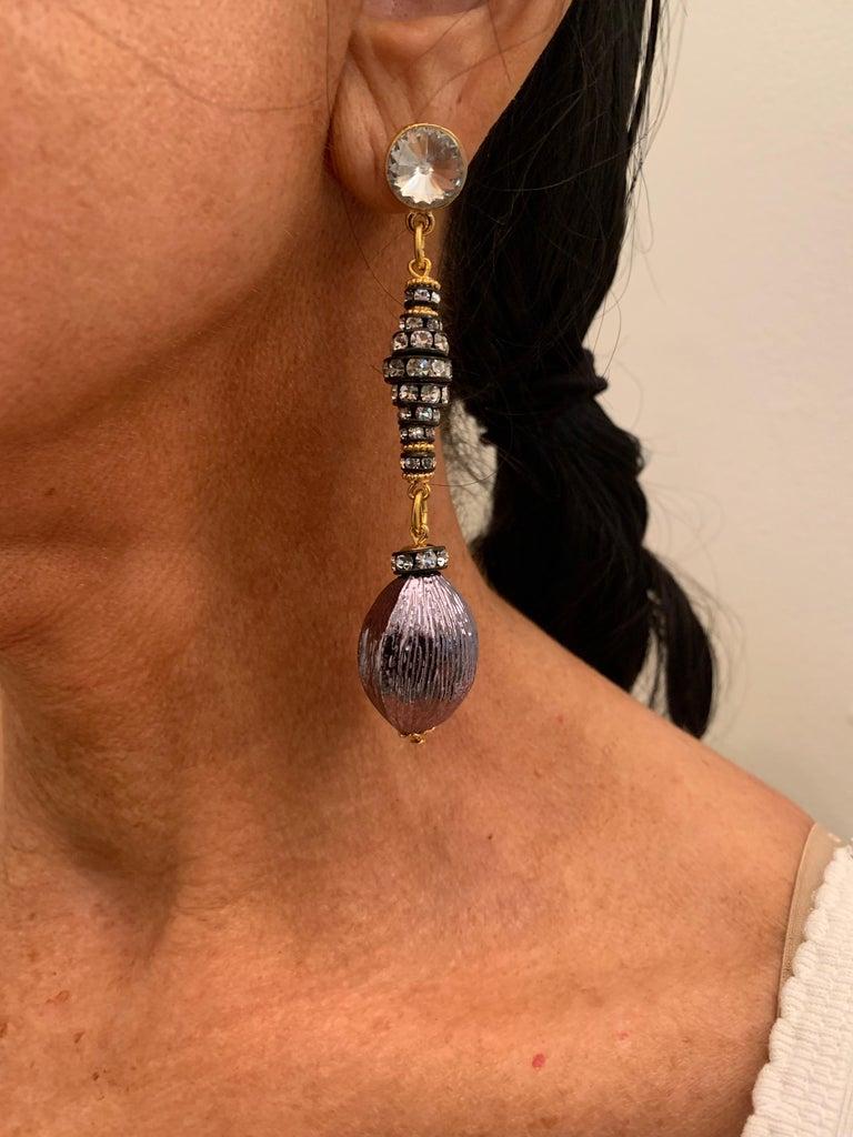 Contemporary Gunmetal Diamanté Drop Statement Earrings  For Sale 3
