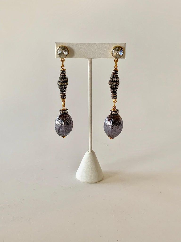 Contemporary Gunmetal Diamanté Drop Statement Earrings  For Sale 4