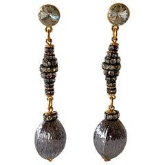 Contemporary Gunmetal Diamanté Drop Statement Earrings