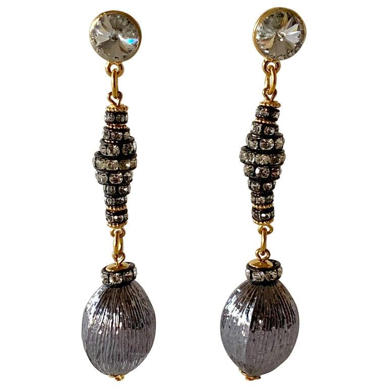 Contemporary Gunmetal Diamanté Drop Statement Earrings  For Sale