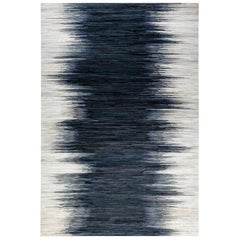 Contemporary Hair on Hide Beige & Blue Rug