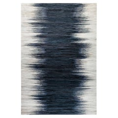 Contemporary Hair on Hide Beige and Blue Rug