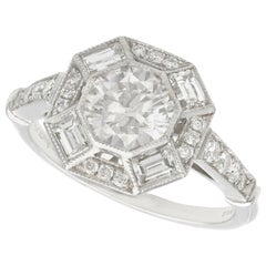 Contemporary Hallmarked 1.79 Carat Diamond and Platinum Cocktail Ring