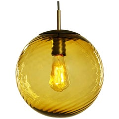 Contemporary Hand Blown Glass Pendant Lamp in Transparent Amber Twist