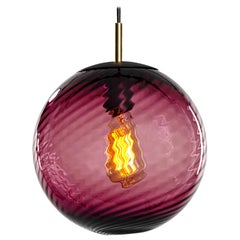 Contemporary Hand Blown Glass Pendant Lamp in Transparent Purple Twist