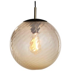 Contemporary Hand Blown Glass Pendant Lamp in Translucent Fawn with Twist