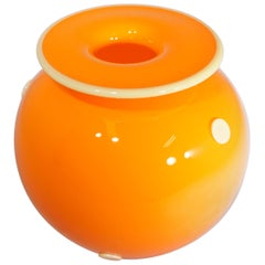 Contemporary Hand Blown Orange Two-Tone Large Commissioned Vase