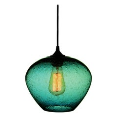 Contemporary Hand Blown Pendant Lamp in Turquoise Rustic Finish