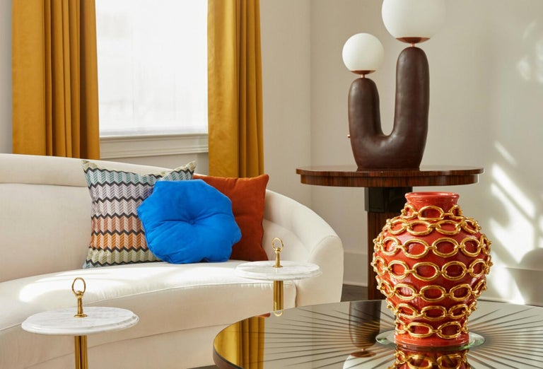 Contemporary Hand-Built Ceramic Base Oo Lamp, Dark Green 'Painted', Medium For Sale 2