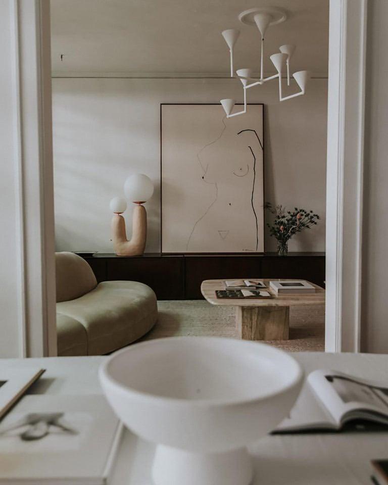 Contemporary Hand-built Ceramic Base Oo Lamp - Skin Tone #1, Medium For Sale 2