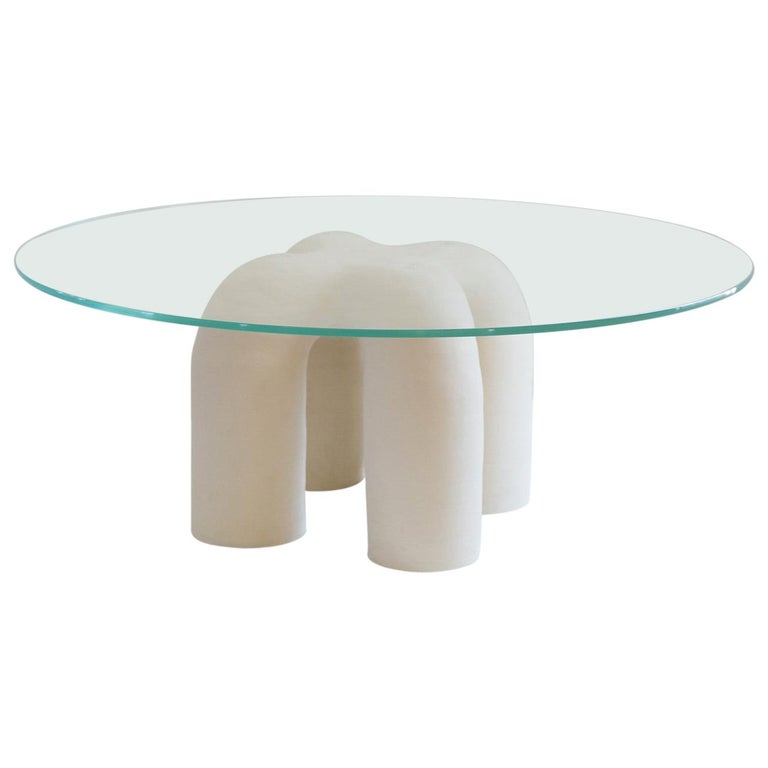 Contemporary Hand-Built Ceramic Stitch Table For Sale
