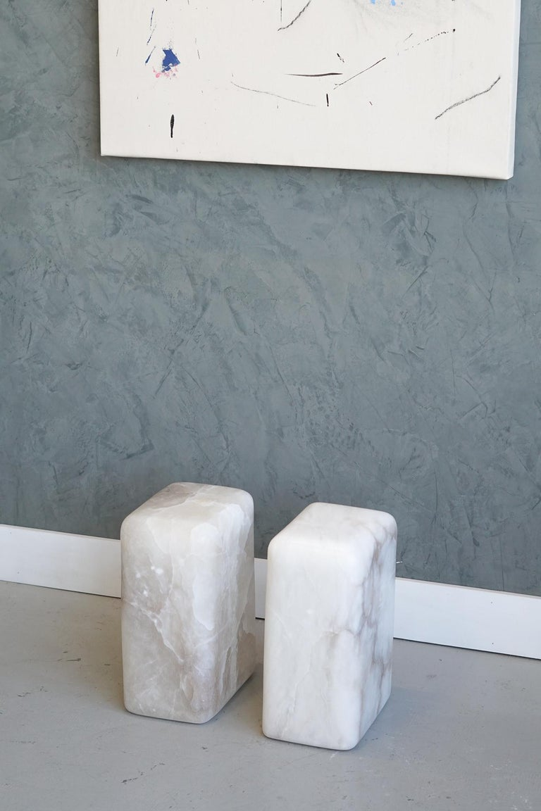 Modern Contemporary Hand Carved Alabaster Chunk Side Tables For Sale