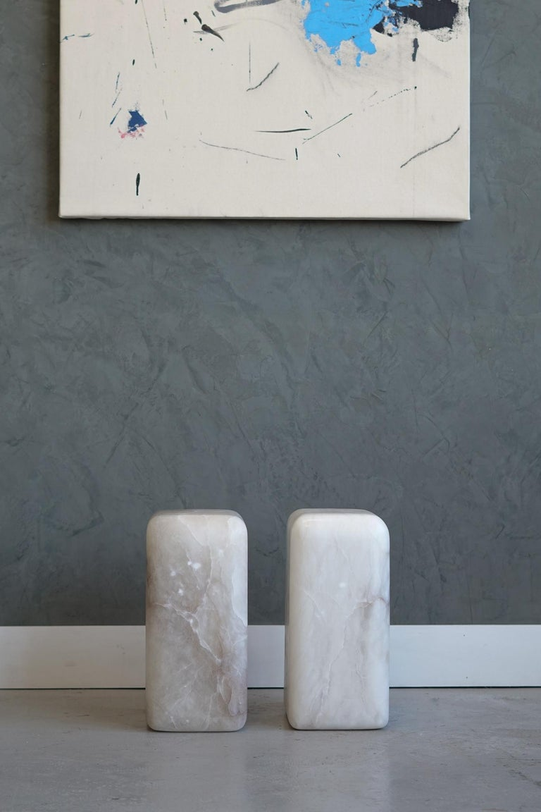 American Contemporary Hand Carved Alabaster Chunk Side Tables For Sale