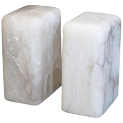 Pair of Sculptural Hand Carved Alabaster Chunk Side Tables by Ordinal Indicator