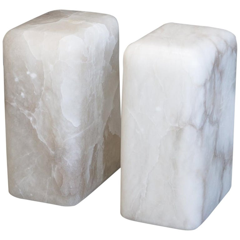 Contemporary Hand Carved Alabaster Chunk Side Tables For Sale